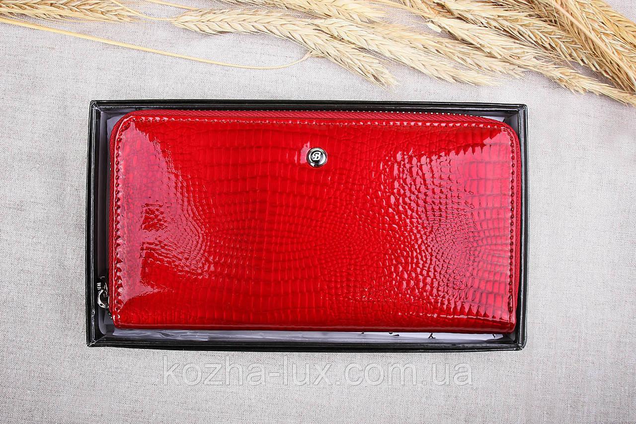 Кошелёк женский кожаный красный на молнии, натуральная кожа