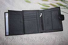 Портмоне мужское кожаное вместительное чёрное, натуральная кожа, фото 3