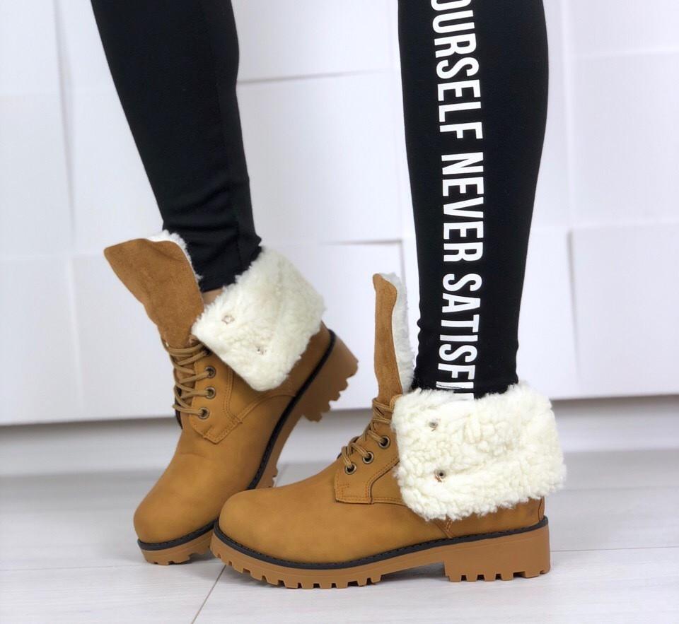 Ботинки Flint женские зимние с меховыми отворотами, тракторная подошва