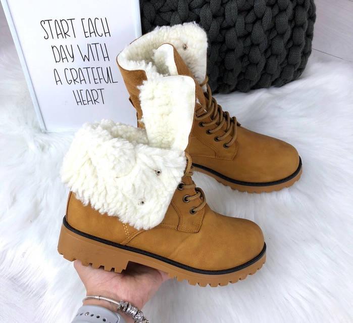 Ботинки Flint женские зимние с меховыми отворотами, тракторная подошва, фото 5
