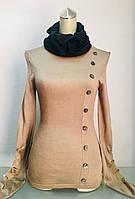 Свитер женский с горлом из шёлка бежевый , фото 1