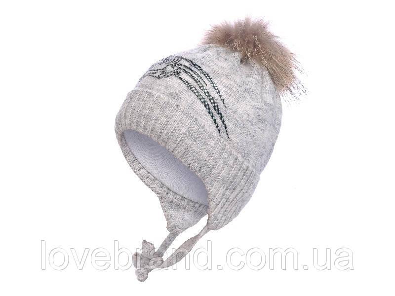 Зимняя шапочка для мальчика на завязку с натуральным помпоном енот