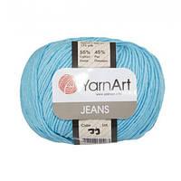 Хлопковая пряжа YarnArt Jeans 33 ярко-бирюзовый (ЯрнАрт Джинс)