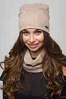 Женский комплект шапка и хомут ангора пудровый, фото 1
