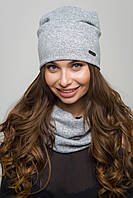 Женский комплект шапка и хомут ангора серый, фото 1