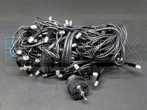 Гирлянда Дождик черный провод 3,3мм с вилкой и матовой круглой лампой уличная 120LED (синий) 120-SHORT-CURTAIN-B-2