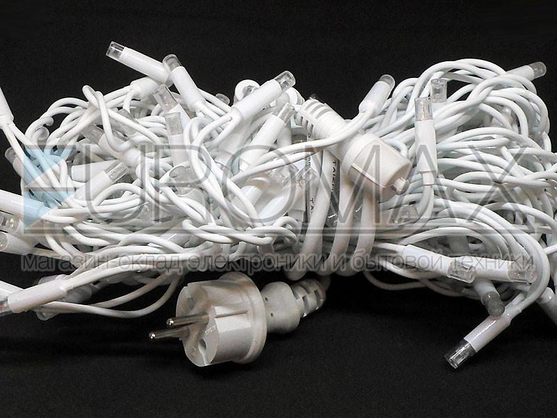 Гирлянда Дождик белый провод 3,3мм с вилкой и матовой круглой лампой уличная 120LED (RGB) 120-SHORT-CURTAIN-M-1