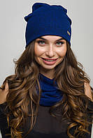 Женский комплект шапка и хомут резинка синий