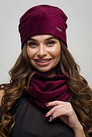 Женский комплект шапка и хомут мех вельбо бордовый