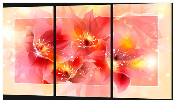 Модульная картина Interno Холст Нежные цветы 144х82см (R620XL)
