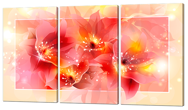 Модульная картина Interno Холст Нежные цветы 164х93см (R620XXL)