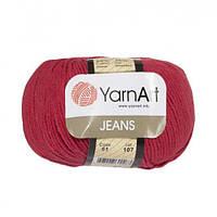 Хлопковая пряжа YarnArt Jeans 51 темно-красный (ЯрнАрт Джинс)