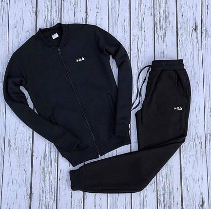 Спортивный костюм В стиле Puma утепленный черный , фото 2