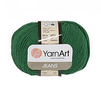 Хлопковая пряжа YarnArt Jeans 52 зеленый (ЯрнАрт Джинс)