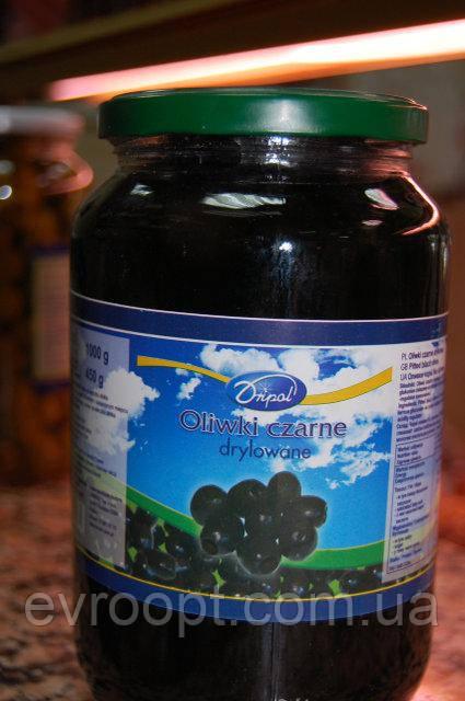 Оливки черные без косточки Dripol 950 г, Польша, фото 1
