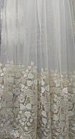Молочный тюль на фатиновой основе с пустыми полями (опт.), фото 1