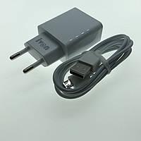 Зарядное устройство 2-USB + кабель microUSB белый, 2400mA Vispir AD-17
