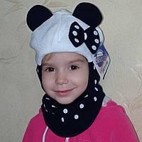 Вязаная шапка шлем осень/зима (Польша, Grans) темно-синего цвета с белым, девочкам на флисе