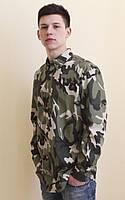 Рубашка молодежная в стиле милитари, камуфляж