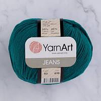 Хлопковая пряжа YarnArt Jeans 63 петроль (ЯрнАрт Джинс)