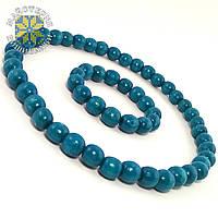 Набір браслет + буси з дерева голубого кольору з бірюзовим відтінком