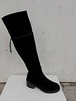 Женские замшевые сапоги-ботфорты,зима