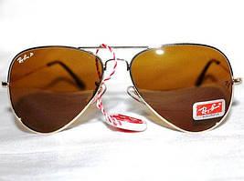 Очки Ray-Ban Aviator Polaroid коричневые. золотая оправа