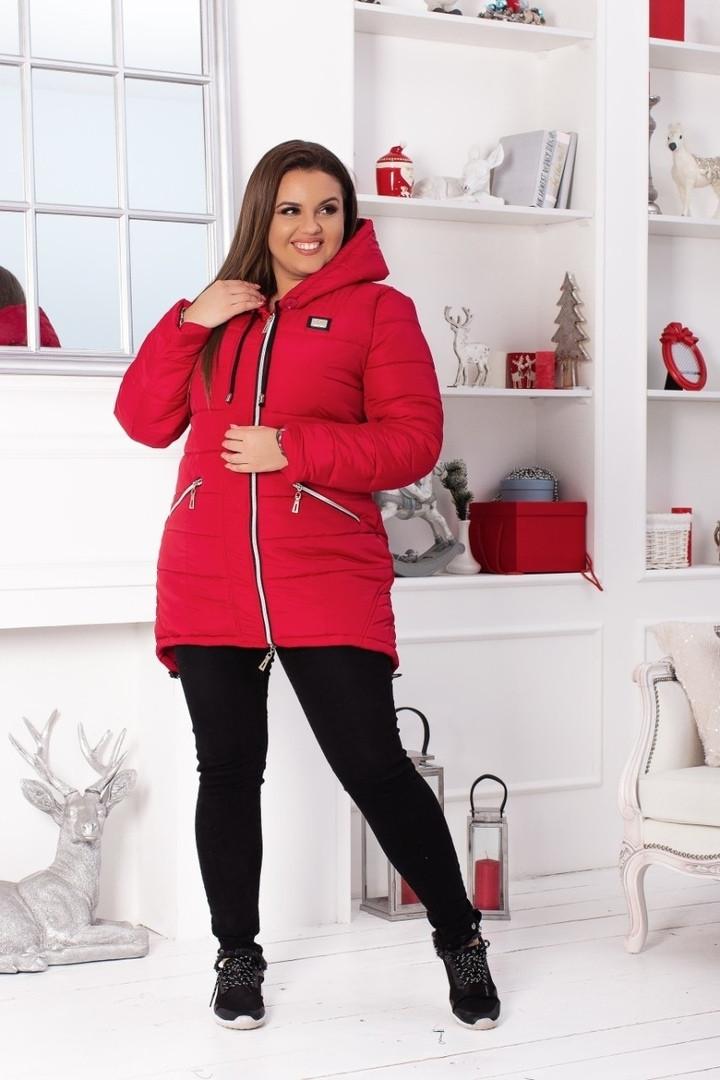 77c15e96 ... Женская зимняя куртка парка удлиненная курточка плащевка силикон 300  батал размеры:50,52, ...