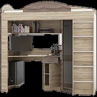 Кровать-чердак со столом и шкафом Эверест Венге темный + Дуб молочный (E-5)