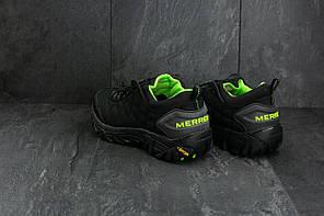 Мужские кроссовки Merrel Continivum черные с зеленым топ реплика, фото 2