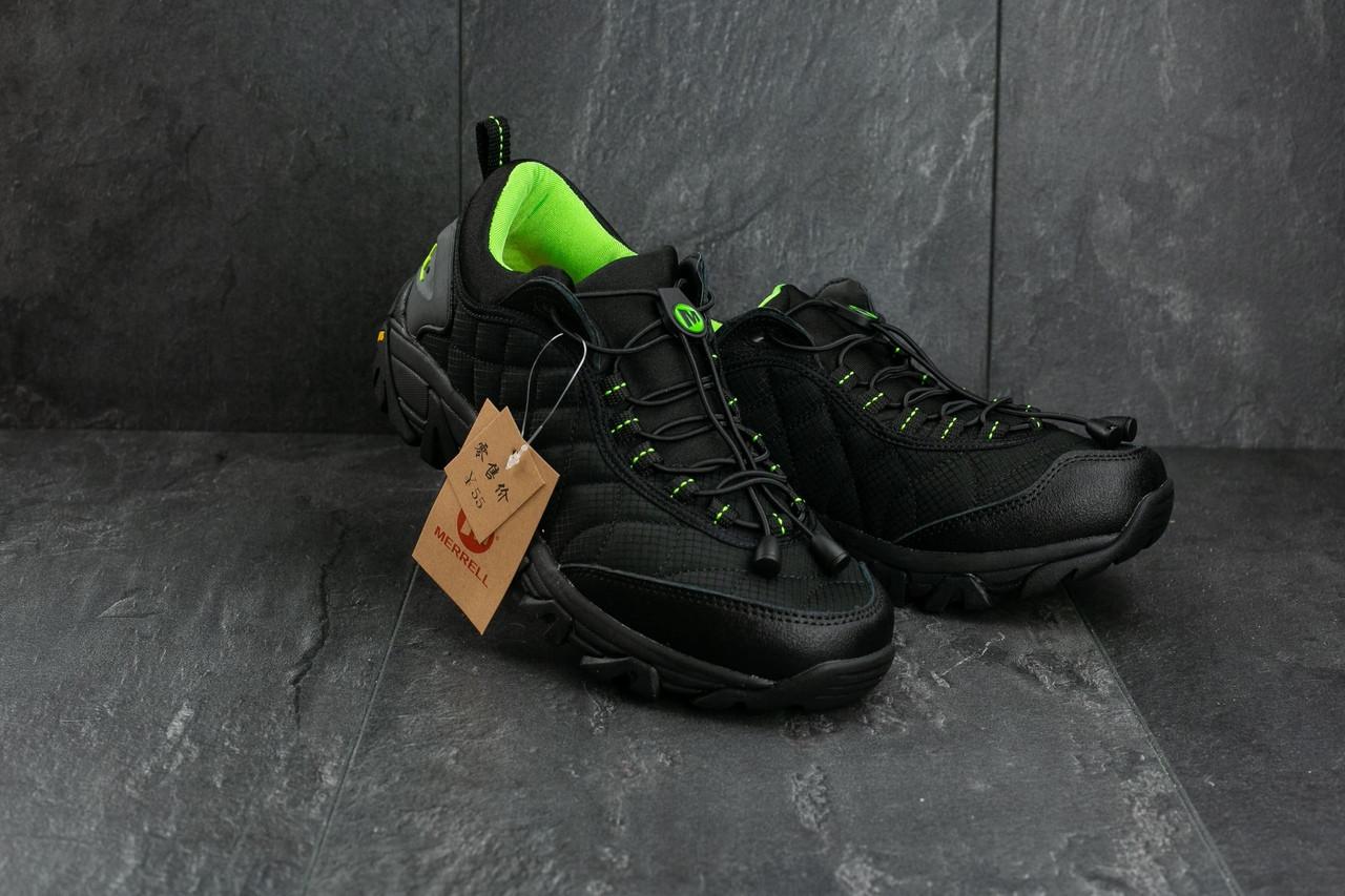 Мужские кроссовки Merrel Continivum черные с зеленым топ реплика