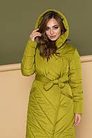 """Зимнее женское стеганное пальто с капюшоном Dives """"Анита"""" оливковое"""