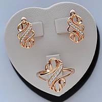 Комплект Завиток Серьги +Кольцо медицинское золото ХР 18/19 размер кольца
