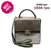 7ddd382aba8a Женская корпусная сумка-квадрат, натуральная итальянская кожа. Черный,  серебро. Зима 2018