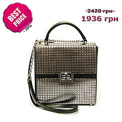 37528409ffd9 Женская корпусная сумка-квадрат, натуральная итальянская кожа. Черный,  серебро. Зима 2018