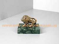 Бронзовая статуэтка Льва на подставке из натурального камня в подарок