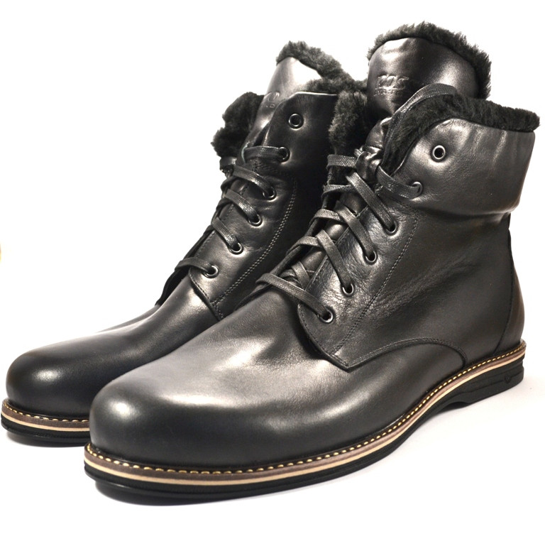 Зимние ботинки мужские кожаные Rosso Avangard Night POLY Whisper Black черные