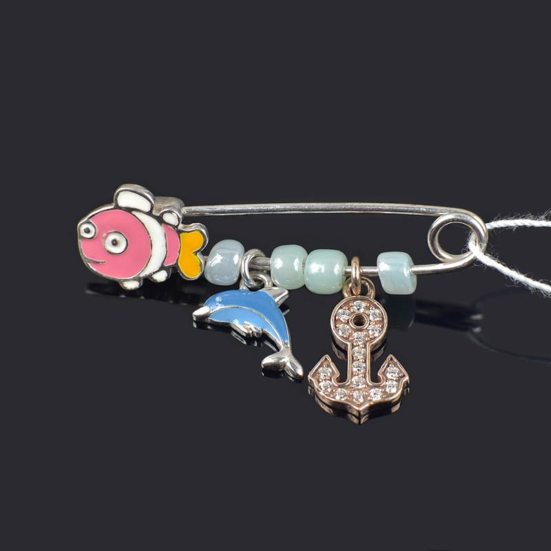 Серебряная брошь Немо с элементами позолоты и эмалью