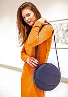 Сумочка круглая, кроссбоди, рюкзак натуральная кожа женская синяя (ручная работа), фото 1