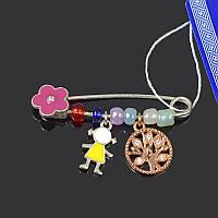 Серебряная брошь булавка Цветочек + девочка