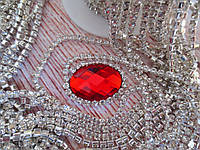 Стразовая цепочка ss12, цвет оправы-серебро, цвет камней-прозрачный, 1 м