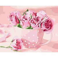 Картина по номерам Чайные розы в чашке 40*50 см, 3 уровень сложности