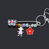 Серебряная брошь булавка Бабочка + девочка