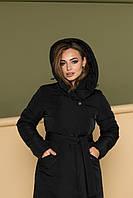 """Черное стёганное зимнее женское пальто из плащёвки с капюшоном и поясом TM Dives """"Мишель"""""""