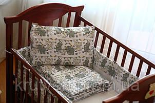 Большой комплект постельного белья для детской кроватки Слоники