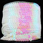 Лента с пайетками, АВ цвет, Цвет: Белый, Ширина 6мм, около 90м/катушка, (УТ000005980)