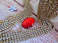 Стразовая цепочка ss12, цвет оправы-золото, цвет камней-прозрачный, 1 м