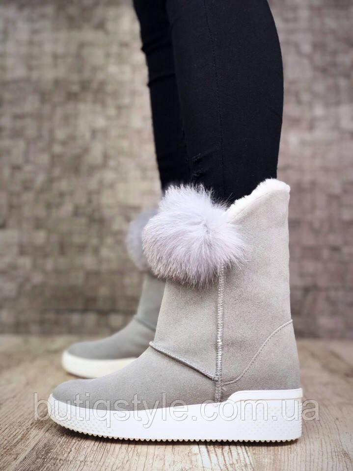 36, 38, 40 размер! Теплые ботиночки с мехом кролика серыенатуральная замша