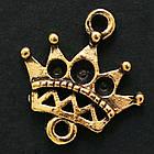Коннектор-Сеттинг Корона, под Стразы, 2 отверстия, Металл, Цвет: Античное Золото, Размер: 15х15х2мм, Отверстие 2мм, Пригоден под Стразы 1~2мм,