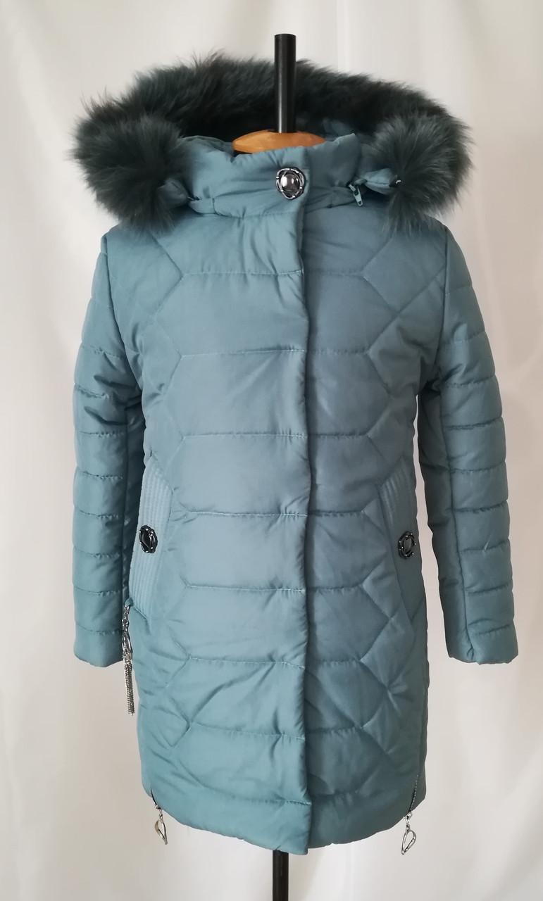 Зимние пальто для девочек от производителя   32-40 Джинс